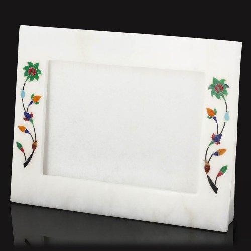 Marmo Bianco Ornament Novelty Photo Frame 12,7 X 17,8 con piedistallo