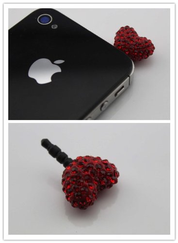 Nine States Crystal Bling Rhinestone Heart Shape Ball 3.5Mm Headphone Jack Anti Dust Plug Ear Cap For Iphone 5,4,4S,Ipad ,Ipod Touch ,Samsung Galaxy S3 S4 Note 2 Note2,Htc,Blackberry And Other Cellphone Red
