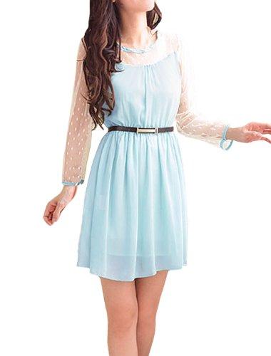 Allegra K Ladies Semi-Sheer Long Sleeves Splicing Belted Dress Light Blue M