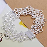 Beautiful Classic 925silver Jewelry White Silver Plating Crystal Chain Bracelet (LKNSPCH013)