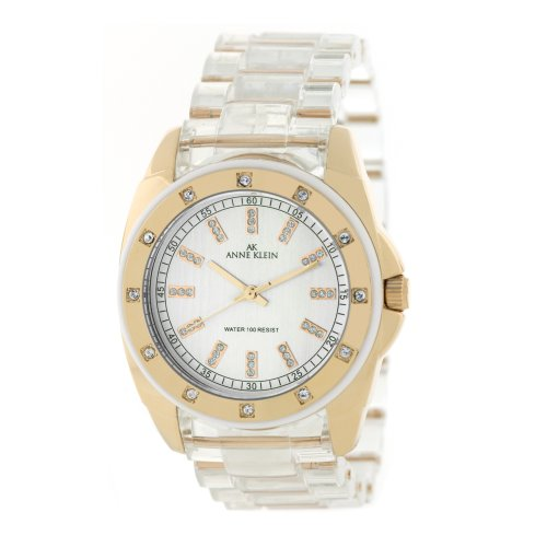 AK Anne Klein Women's 109178RGCL Swarovski Crystal Accented Rosegold-Tone Clear Plastic Bracelet Watch