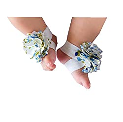 Geoot Pure Handmade Knit Flowers Barefoot Sandals Infant Toddler Baby Feet Decoration(white)
