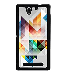 Colourful Geometrical Pattern 2D Hard Polycarbonate Designer Back Case Cover for Sony Xperia C3 Dual :: Sony Xperia C3 Dual D2502