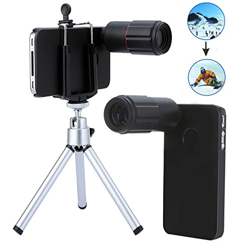 8X Magnification Mobile Phone Zoom Telescope Magnifier Optical Camera Lens With Tripod + Holder + Hard Back Case For Iphone 4 4S Black