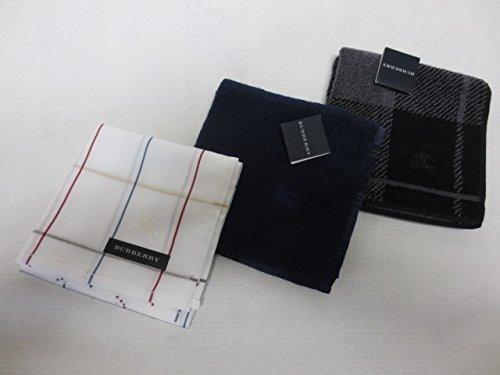 [バーバリー]BURBERRY メンズ 紳士 ハンカチ と タオルハンカチ 3枚セット ホースマーク刺繍 白チェック