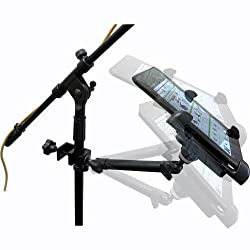 ChargerCity Dual Joint Rotate Adjustable Aluminum Pole/Bar C Clamp Podium Orchestra Music Mic Microphone Stand Mount (10 ) for with Universal 7 -11 Tablet holder compatible w/ Apple iPad 5 4 3 2 Air Mini Retina Samsung Galaxy Tab Note AMZ Kndle Fire HD HDX Microsoft Surface Google Nexus Acer Asus VivoTab Sony Xperia Lenovo Idea Yoga 7 7.7 8 8.9 9 10 11 inch Tablet