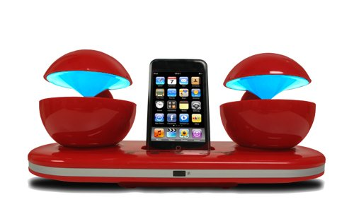speakal icrystal stereo ipod docking station with 2 speakers red 705105266176. Black Bedroom Furniture Sets. Home Design Ideas