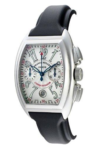 (フランク・ミュラー) FRANCK MULLER 腕時計 コンキスタドール・クロノ 8005CC シルバー  黒ラバーベルト メンズ [並行輸入品]