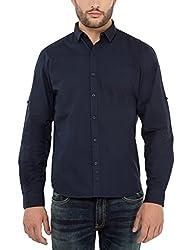 Highlander Men's Casual Shirt (13110001459344_HLSH008864_Small_Navy Blue)