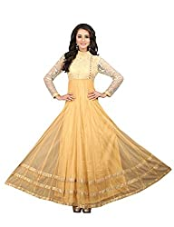 BanoRani Beige Color Net and Flower Net UnStitched Gown