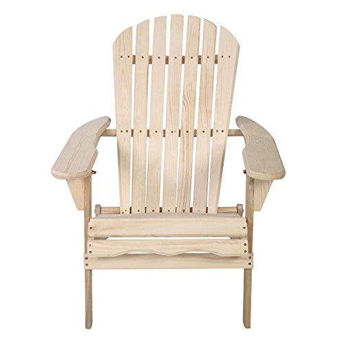 New Outdoor Foldable Fir Wood Adirondack Chair Patio Deck Garden Furniture (Resin Stacking Adirondack Chair compare prices)