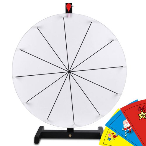 Round 20-In Diam. Tabletop White Color Dry Erase Clicker Prize Wheel 12-Slot Strong Structure Spin Board W/ Wood Stand Custom Sheet For Diy Desk Table Top Game