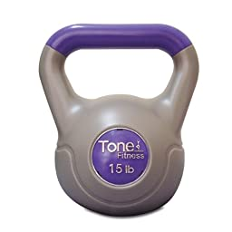 Tone Fitness Vinyl Kettlebell, 15-Pound