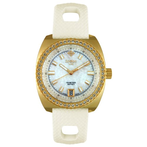 Zodiac Women's ZO2900 Sea Dragon Crystal Accented Gold-Tone Watch
