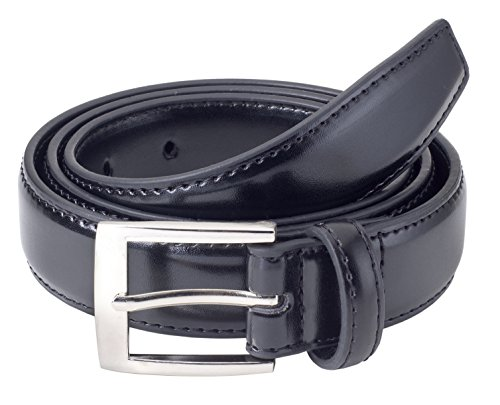 Sportoli™ Mens Classic Stitched Genuine Leather Uniform Belt - Black (48)