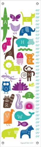 Oopsy Daisy ABC Animalia Rainbow by Ampersand Design Studio Growth Charts, 12 by 42-Inch