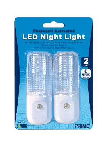 Prime Wire & Cable Nlae332P Automatic Night Light White Led, 2-Pack