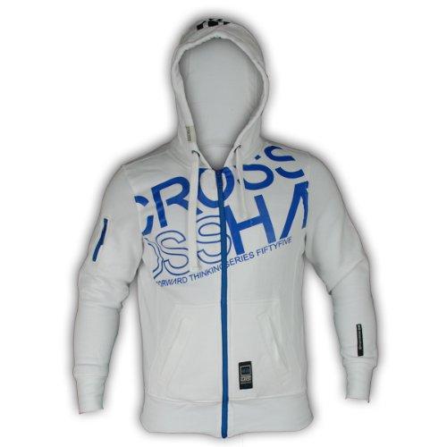 Mens Crosshatch Hooded Sweatshirt Vanktons White Medium
