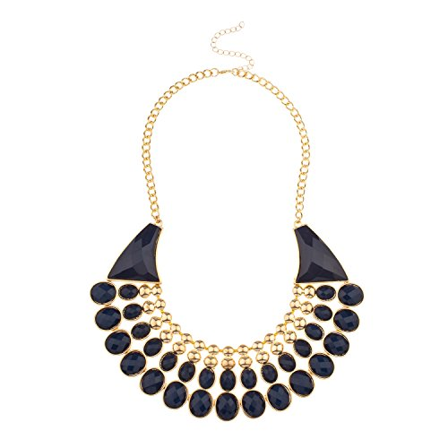 Lux Accessories Posh Faceted Stone Bib Statement Necklace