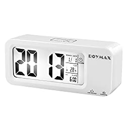ROYMAX Alarm Clock, Snooze, Temperature, Date, Alarm Status, Operated by Both Built-in Battery and Charging Cable (White)
