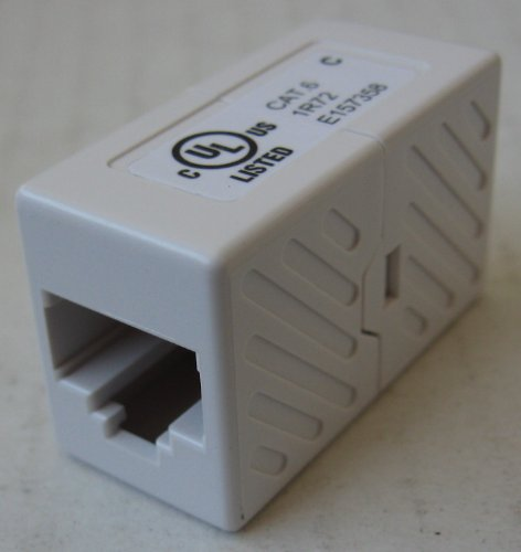 Category 6 Cat6 Network Ethernet Cable Coupler - White - connects two network cables together to extend their distance.