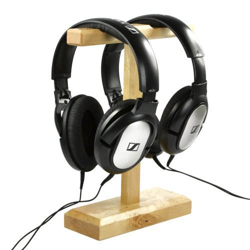 Cosmos ® Wood Dual Headphones Stand For Bose Qc15, Sony Mdr-Xb500, Sennheiser Hd 202 Ii, Shure, Ultimate Ears, Koss Portapro, Jvc, Philips, Monster Beats Solo Studio Pro, Skullycandy, Coby, Platronics With Cosmos Fastening Strap