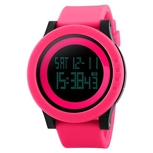 TTLIFE unisexo reloj rojo relojes de pulsera de moda dial grande deporte relojes Silicona Reloj Correa Impermeable LED Digital Reloj