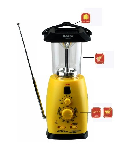 Kaito Ka249W Multi-Functional Solar / Wind-Up Led Camping Lantern With Am/Fm Noaa Weather Radio & Cell Phone Charger, Color Yellow
