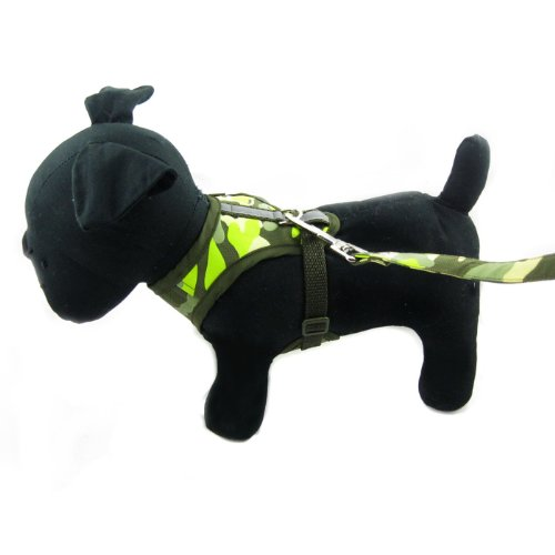 Happy Puppy Designer Dog Accessory - Green Camouflage Harness and Poo Bag Set - Color: Green, Size: M