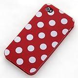 Ecence - Carcasa para iPhone 4 o iPhone 4S, diseño de lunares, color rojo y blanco