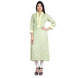 Indian Artizans Yellow Cotton Noorie Kurta With Chikankari