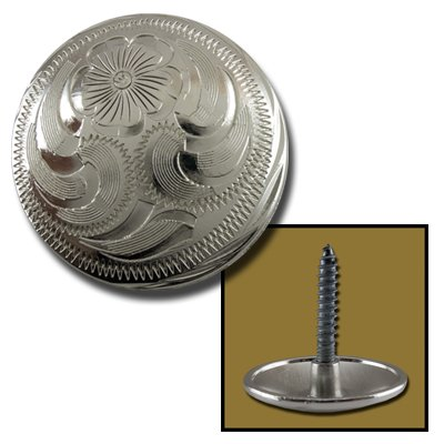 """Springfield Leather Company 1-1/4"""" Silver Floral Saddle Screw Concho"""