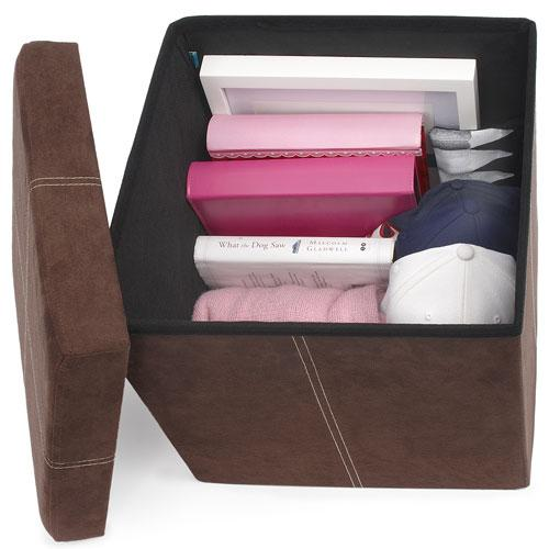 fhe group microsuede storage ottoman with items stored inside