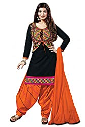 Maxthon Fashion Women Printed Regular Wear Unstitched Dress Material (New Dress Material Black & Orange 3008)
