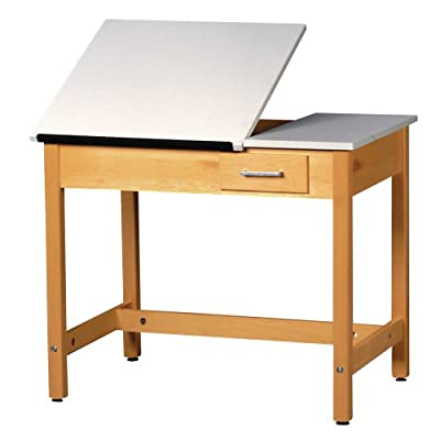 "Diversified Woodcrafts DT-3A37 UV Finish Solid Maple Wood Art/Drafting Table with 1 Piece Top and Center Drawer, Plastic Laminate Top, 36"" Width x 36"" Height x 24"" Depth"