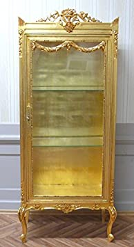 baroque vitrina glass cabinet cupboard golden 3 sides glass