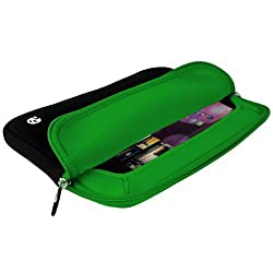 VanGoddyTM VanGoddy Neoprene Sleeve Cover for Quantum View QS-1035-Z3745D 10.1-inch Tablet + Windshield Mount + Auxliary Cable (Green Trim)