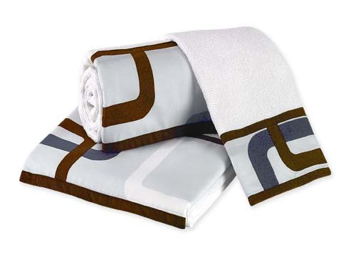 Blue and Brown Geo Baby and Kids Cotton childrens bath towel Set - 3pc Set by Sweet Jojo Designs