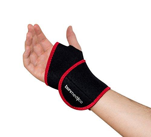 Bonmedico® Mano, polsiera elastica, ideale per gli sport, il lavoro e le attività di tutti i giorni, utile in caso di tendiniti (tenosinovite), supporto per il polso da uomo e donna, ambilaterale