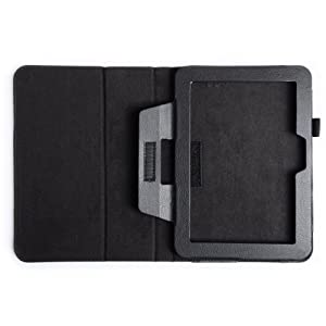 Kindle Fire HD Case Black PU Leather Stand Book Cover With Sleep / Wake Function