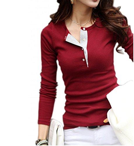 Donna T-shit primavera shirt Polo a maniche lunghe, girocollo, tinta unita, colore: rosso Vin rouge Small