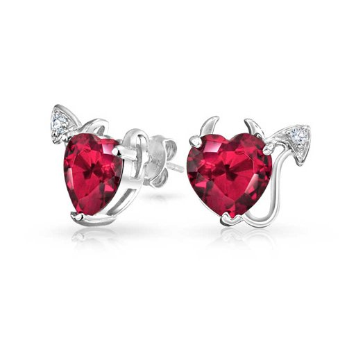 Bling Jewelry 925 Silver CZ Pink Red Devils Heart Stud Earrings (Devil Heart Earrings compare prices)