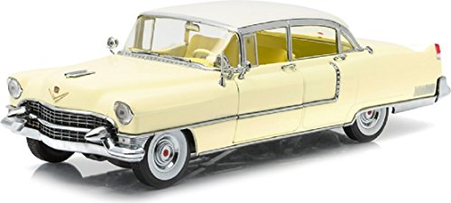 GreenLight Collectibles 1955 Cadillac Fleetwood Series 60 Vehicle with a Roof (1:18 Scale), Yellow/White