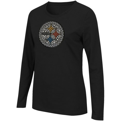 11be5c22d Pittsburgh Steelers Bling Womens Jazzed Up Long Sleeve T-Shirt at  SteelerMania ...