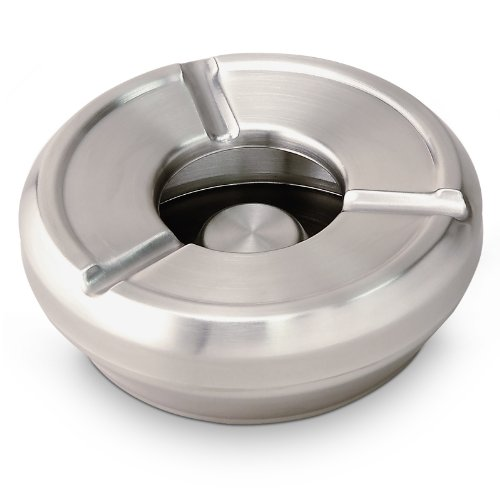 Ash Tray Steinless Steel Wind Ashtray with Removable Lid 12.5 cm