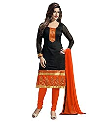 RR Fashion Women's Chanderi Unstitched Dress Material (FENTA-B_BLACK)