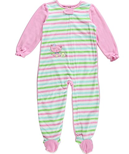 Absorba Toddler Girls 1 Piece Pink Green Striped Footie Blanket Sleeper front-860404