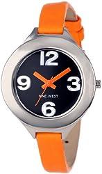 Nine West Women's NW/1389BKOR Silver-Tone Orange Strap Watch