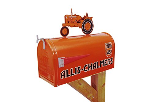 Allis-Chalmers-WD-45-large-steel-mailbox-with-tractor-on-top