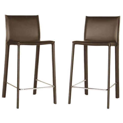 Baxton Studio 35 1 2 Inch Tall Leather Counter Stool Set
